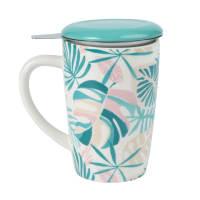Mug tisaniera in maiolica stampa a foglie Pink Island