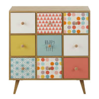Multicoloured 9-Drawer Storage Cabinet Alix