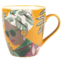 Set of 2 - Multicoloured Earthenware Mug with Face Print