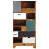 Multicoloured Mango Wood 6-Drawer 2-Door Bookcase Picadilly