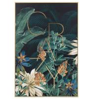 Multicoloured plant-print artwork 40x60cm
