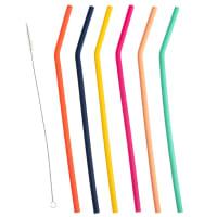 VITAMINES - Multicoloured Silicone Straws (x6)