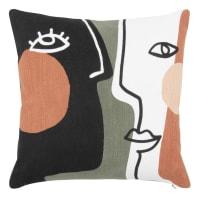 GRISELDIS - Multicoloured textured organic cotton cushion cover 40x40cm