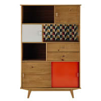 PAULETTE - Multicoloured Vintage-Style 2-Drawer 4-Door Bookcase