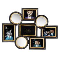 EDWARD - Multirahmen für 5 Fotos mit Spiegel aus Polyresin, schwarz und goldfarben, 54x41cm
