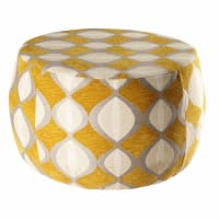 Mustard and beige jacquard pouffe Space