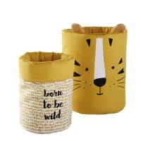 SAMBA - Mustard Yellow Patterned Cotton Baskets (x2)