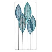 GREEN ADDICT - Muurdecoratie bladeren van blauw metaal 60x136