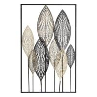 INAYA - Muurdecoratie veren van zwart en goudkleurig metaal 53x84