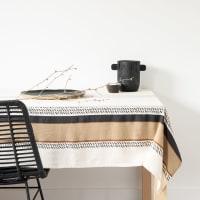 SMORS - Nappe en coton bio effet froissé écru, noir et caramel 150x250