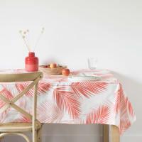 Nappe en coton écru imprimé feuilles de palmier corail 150x250