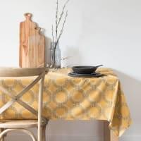 Nappe en coton jaune à motifs 150x250