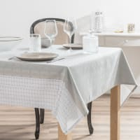 MISSOULA - Nappe en tissu écru motifs jacquard 150x250