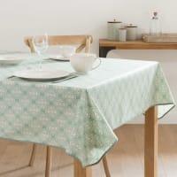 Nappe enduite en coton vert à motifs 140x250 Ponsa
