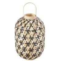Natural and Black Woven Bamboo Lantern Acapulco
