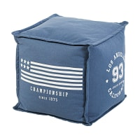 Navy Blue Cotton Footstool with White Print Austin