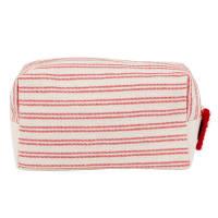 Neceser de aseo de algodón color crudo con motivos decorativos de rayas rojas