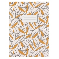 Set aus 2 - Notizbuch mit Blättermotiv, gelb und weiß