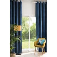 Ösenvorhang aus blauem Samt mit Jacquard-Mustern 140x300, 1 Vorhang Venezia