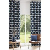 Ösenvorhang aus saphirblauem Samt mit Jacquard-Mustern 140x300, 1 Vorhang Aston