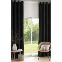 Ösenvorhang aus schwarzem Samt 140x300, 1 Vorhang Corbeau