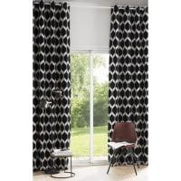 Ösenvorhang aus schwarzem Samt mit Jacquard-Mustern 140x300, 1 Vorhang Aston