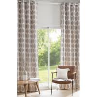 Ösenvorhang aus taupe-farbenem Samt mit Jacquard-Mustern 140x300, 1 Vorhang Aston