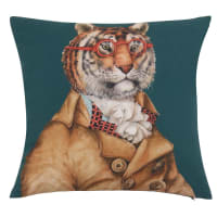 PETER - Organic cotton cushion cover with decorative teal, mustard yellow and red animal print 40x40cm