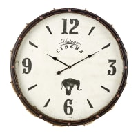 Orologio in metallo nero e corda, D 84 cm Baroni