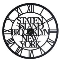Orologio industriale in metallo nero Staten Island