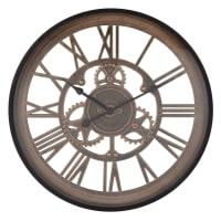 RENO - Orologio ingranaggi nero e marrone, 46 cm