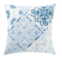 Outdoor Cushion with Blue and White Cement Tile Print 45x45 Amadora