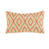 Outdoor Cushion with Red Graphic Motifs 30x50