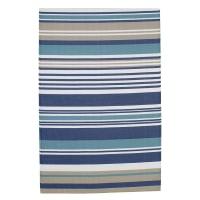 Outdoor-Teppich  aus Kunststoff, 180x270, blau gestreift Escale