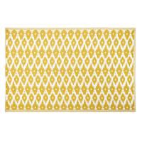 DHATU - Outdoor-Teppich, gelb mit weiße Grafikmotiven 180x270