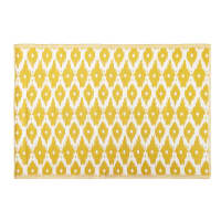 Outdoor-Teppich, gelb mit weißen Grafikmotiven 140x200 Dhatu