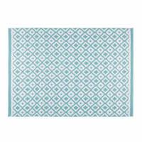 Outdoor-Teppich mit weißen und blauen geometrischen Motiven 140x200 Jane