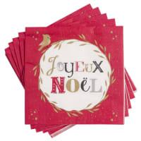 JOYEUX NOEL - Set aus 2 - Pack Papierservietten rot mit Druckmuster (x20)