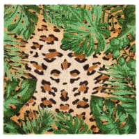 Paillasson en fibre de coco imprimé léopard 45x45