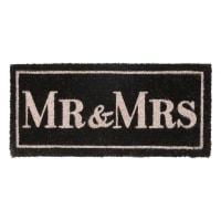 Paillasson en fibre de coco noir 25x55 Mr & Mrs