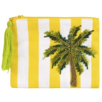 Palm Tree EmbroideRed Striped Cotton Pouch