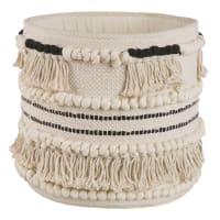 Panier berbère en coton écru Ethnik