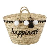 Panier en fibre végétale brodé à pompons Happiness