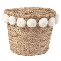 Panier tressé en fibre végétale et pompons ivoires