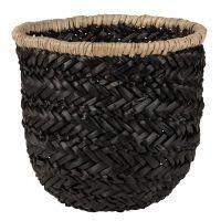 Panier tressé en fibre végétale noire