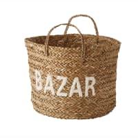 Panier tressé en osier H 38 cm Bazar