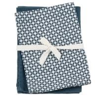 MELISI - Paños de cocina de algodón color azul y blanco (x2)