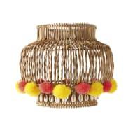 SIWA - Pantalla para lámpara de techo de mimbre con pompones