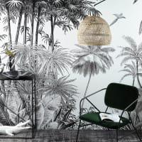 PARADISE - Papel pintado de parede não tecido com impressão de selva em preto e branco 300x350