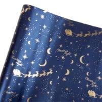 BLUE CHRISTMAS NIGHT - Lot de 2 - Papier cadeau imprimé nuit de Noël bleu et doré 2M